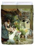 A Flower Market In Paris Duvet Cover
