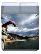 A Fly Fisher Casting His Line Duvet Cover