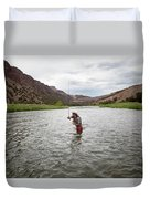 A Fly Fisherman Mends While Fishing Duvet Cover