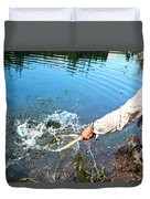 A Fly Fisherman Pulls A Fish Duvet Cover