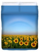 A Fog Bow Over The Colorado Sunflower Fields Duvet Cover