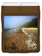 A Foggy Day At Pier Cove Beach 2.0 Duvet Cover by Michelle Calkins
