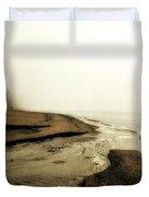 A Foggy Day At Pier Cove Beach Duvet Cover