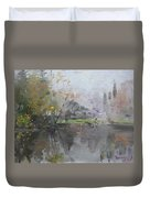 A Foggy Fall Day By The Pond  Duvet Cover
