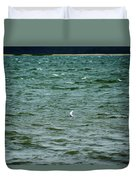 A Forster Tern Fighting The Winds Out At Sea Duvet Cover