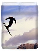 A Freestyle Skier Takes A Jump In Utah Duvet Cover