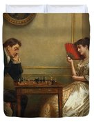 A Game Of Chess Duvet Cover by George Goodwin Kilburne