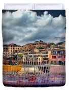 A Genesis Sunrise Over The Old City Duvet Cover by Ronsho