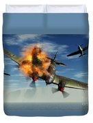A German Heinkel Bomber Plane Crashing Duvet Cover