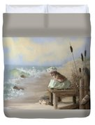 A Girl Posed By The Seashore Victoria Duvet Cover