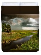 A Glow On The Marsh Duvet Cover