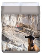 A Goat Hanging Out At The Base Duvet Cover