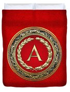 A - Gold Vintage Monogram On Red Leather Duvet Cover