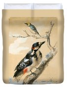 A Great Spotted Woodpecked And Another Small Bird Duvet Cover
