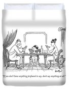 A Greek Family Is Seen Eating At The Table Duvet Cover by Robert Leighton