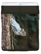 A Grey Squirrel Making It S Way Duvet Cover