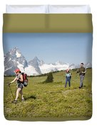 A Group Of Hikers In The Selkirk Duvet Cover