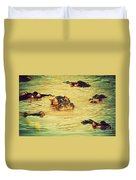 A Group Of Hippos In A River. Tanzania Duvet Cover