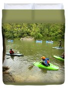 A Group Of Kayakers, Rafters Duvet Cover