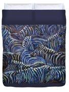 A Group Of Zebras Duvet Cover