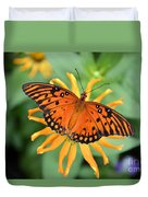 A Gulf Fritillary Butterfly On A Yellow Daisy Duvet Cover