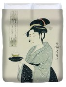 A Half Length Portrait Of Naniwaya Okita Duvet Cover