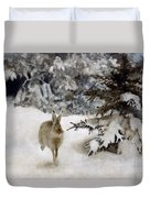 A Hare In The Snow Duvet Cover