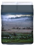 A Heard Of Elk Graze In A Misty Meadow Duvet Cover
