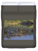 A Hedge Of Heron Duvet Cover