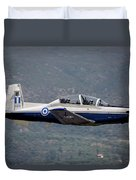 A Hellenic Air Force T-6 Trainer Flying Duvet Cover