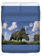 A Herd Of Albertaceratops Grazing Duvet Cover
