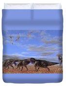 A Herd Of Parasaurolophus Dinosaurs Duvet Cover