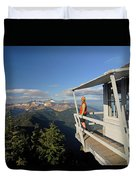 A Hiker Enjoys The View Duvet Cover