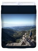 A Hiker Looks At The View Duvet Cover