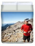 A Hiker Uses His Smartphone To Capture Duvet Cover