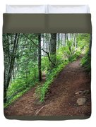 A Hiking Trail Goes Up Saddle Mountain Duvet Cover