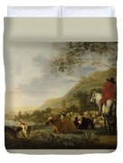 A Hilly Landscape With Figures Duvet Cover