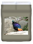 A Himalayan Monal Showing Off Its Beautiful Plumage Duvet Cover