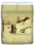 A Horse Drawn Sleigh In A Winter Landscape Duvet Cover by Fritz Thaulow