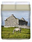 A Horse Grazing In A Field Duvet Cover