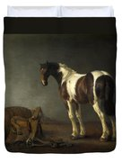 A Horse With A Saddle Beside It Duvet Cover