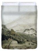 A Kaffir Village, C.1801 Wc & Graphite On Paper Duvet Cover