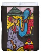 A King Messenger Blowing Flute Duvet Cover