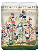 A King S Ship Dressed With The Colours Of Different Nations 6th October 1794 Duvet Cover