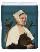 A Lady With A Squirrel And A Starling Duvet Cover
