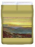 A Lake Landscape At Sunset Duvet Cover