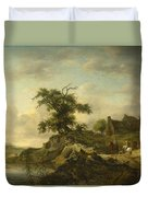 A Landscape With A Farm On The Bank Of A River Duvet Cover