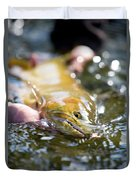 A Large Cutthroat Being Released Duvet Cover