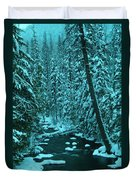 A Leaning Tree Over The Little Naches River Duvet Cover