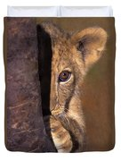 A Lion Cub Plays Hide And Seek Wildlife Rescue Duvet Cover